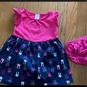 EUC. Pink and navy Gymboree bunny dress!